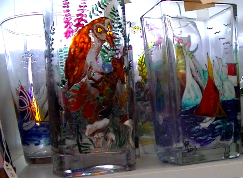 Kym Ridge Glass vases, jars and plates. Paintings onto glass. Not on display in Shop.