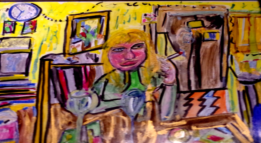 'Annabel at home' Watercolour and acrylic on Paper A3 size  by BB Bango   £50