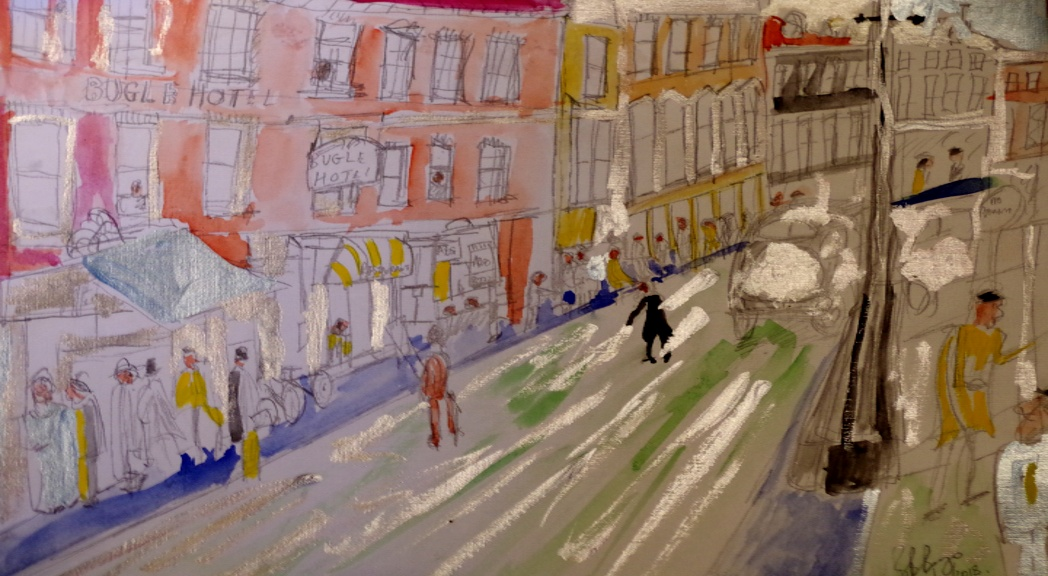 'Newport High St 1950s' Watercolour and acrylic on Paper A3 size  by BB Bango   £50
