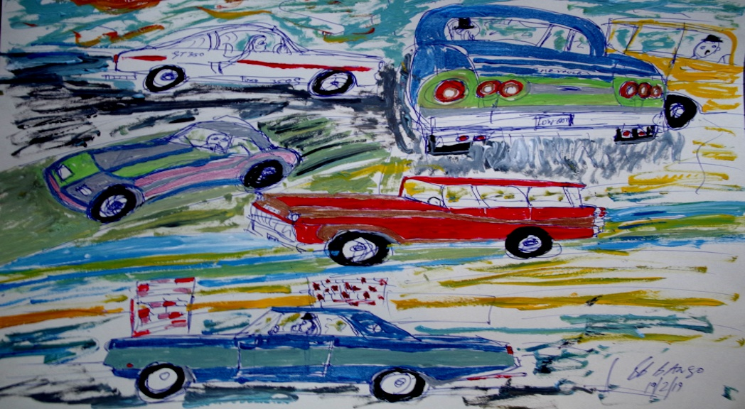 'Motors Wallpaper' Acrylic on paper A3 size by BB Bango   £65