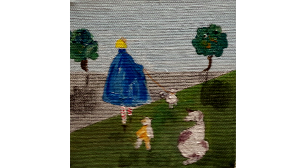 Liz Fletcher Acrylic on Canvas 'Walkies 2'  5 by 5 inches £60 On display in Bembridge Shop.