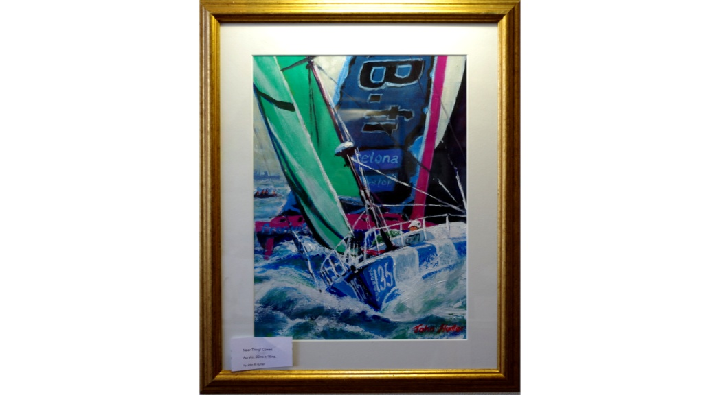 'Near Thing! Cowes' by John Hunter Landscape Artist Acrylic on canvas. 20 by 18 inches Framed £180.
