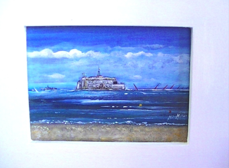 One of a 'Sand and St Helens Fort' views on 18*14cm Canvas and Wide White frame. Mike Miller Seaview Based Artist in many mediums onto canvas, card and terracotta. On display in Bembridge shop. £800