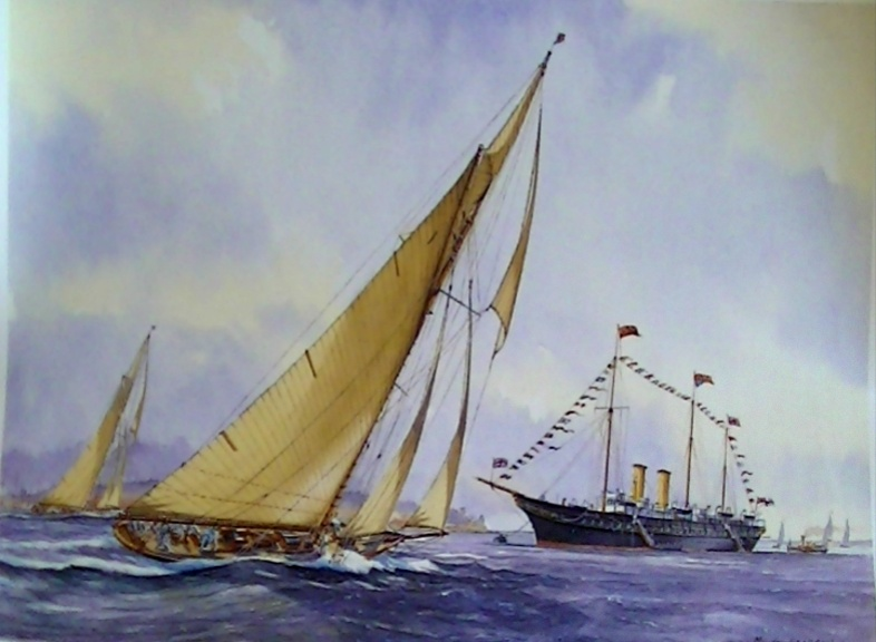 'Royal Yachts off Cowes 1926' Signed limited edition Print by MG Pearson.  Unframed 47*28cm £50. On display ClayClay shop. Postcard also Available.