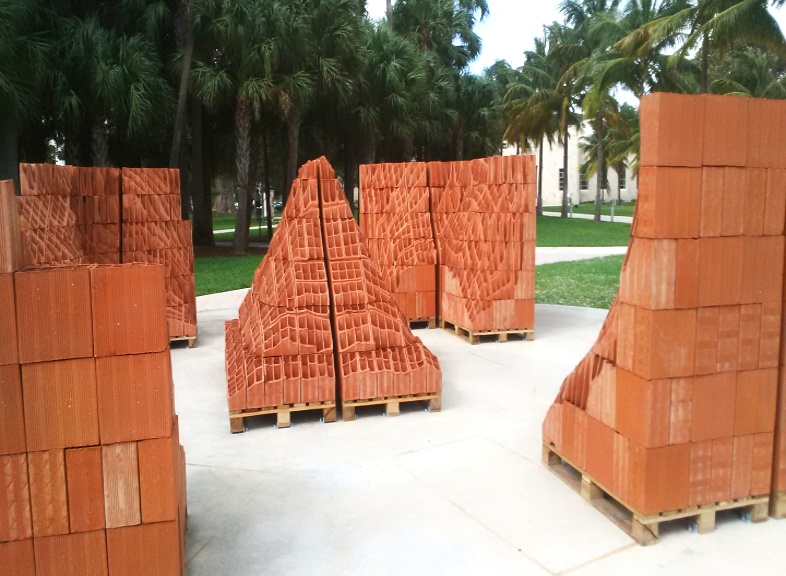 Terracotta wall block scuplture outside Bass Museum of Art, Miami Beach, January 2016