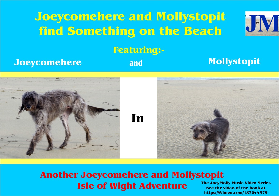 Joeycomehere and Mollystopit find something on the beach. Part of a series of Wight Adventures written by BB Bango and published by ClayClay. Copies of book in A6 and A5 format available direct from the ClayClay Shop  This 1st book  is also a music video