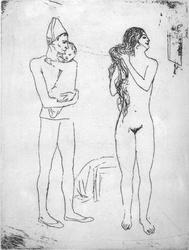 'Late Strike' etching by Pablo Picasso 'La Toilette de la Mere' Original plate this was printed from was engraved by Pablo Picasso himself between 1905 and 1913. On display in the Bembridge shop.  Price �500. Not expensive for a genuine picasso.