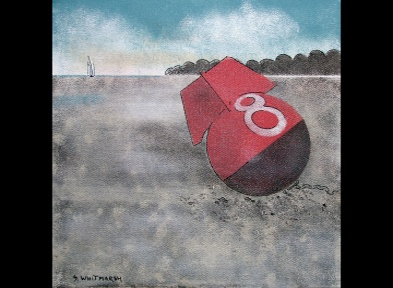 Original art. No 8 Buoy  by Suzanne Whitmarsh on  display in the ClayClay Shops along with one of her other paintings.
