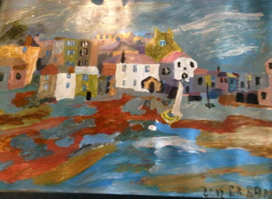 BB Bango. Sea Village Acrylic on Paper. Framed  68*50cm £45. On display in Bembridge shop