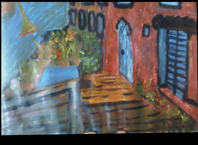 BB Bango. The Red House Acrylic on Paper. Framed  68*50cm £30 On display Bembridge shop
