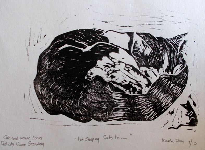Cat and Mouse - Let Sleeping Cats Lie'  Linocut etching by Felicity Anne Steenberg A4 size £30 and framed for £50.