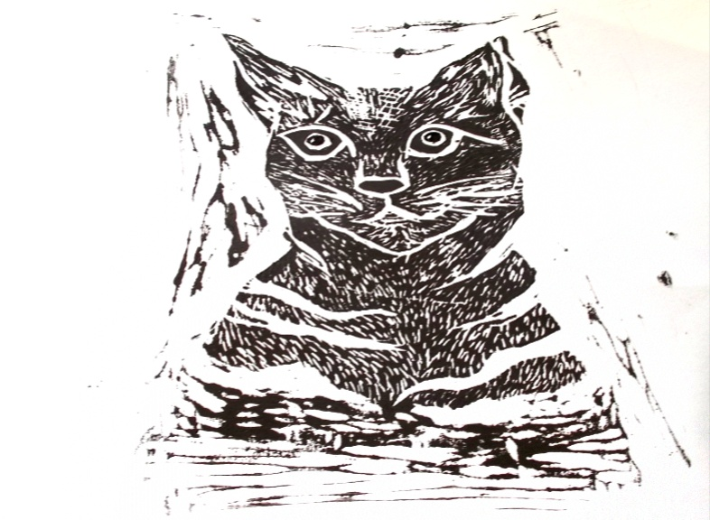 Cat and Mouse - 'Cat'  Linocut etching by Felicity Anne Steenberg A4 size £30 and framed for £50.