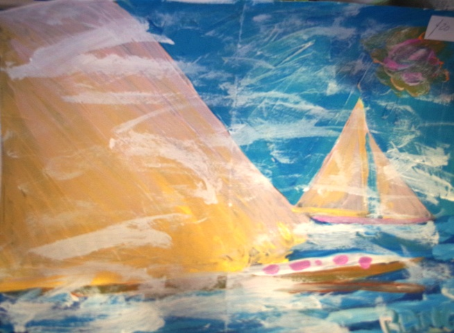'Big Sail' A3 size Acrylic on paper by BB Bango. August 1st 2015 . On display Bembridge Shop £20