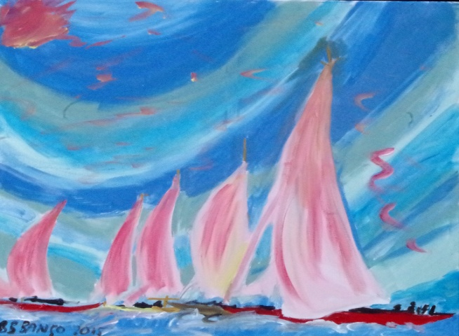 'Three Pink Sails' 20 by  30 inches by BB Bango. Aug 2nd 2015 Acrylic on canvas.  £100