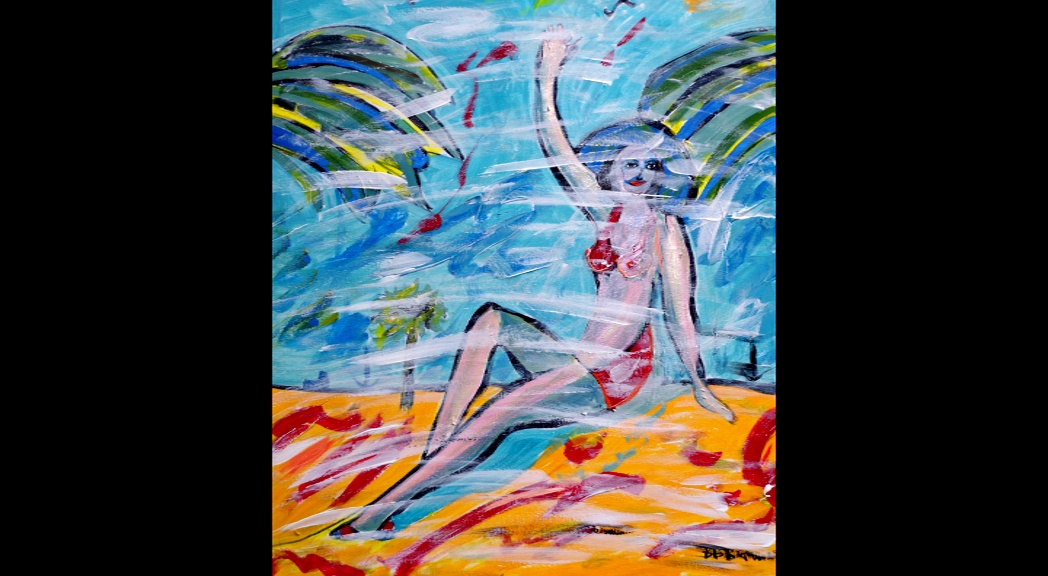 "'See you on the beach' Acrylic on canvas 18 by 24""  by BB Bango   £100"