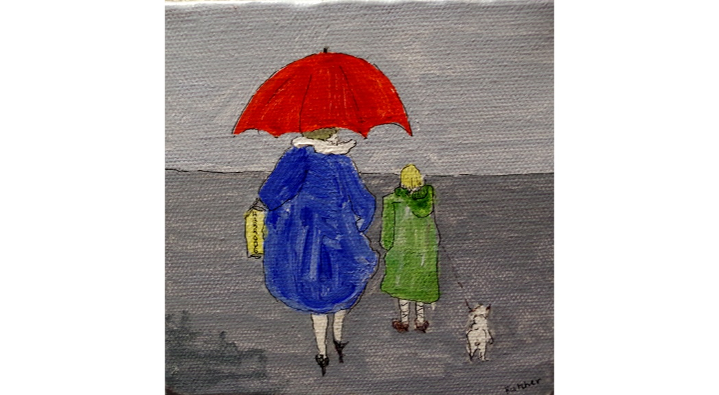 Liz Fletcher Acrylic on Canvas 'Walkies 3'  5 by 5 inches £60 On display in Bembridge Shop.