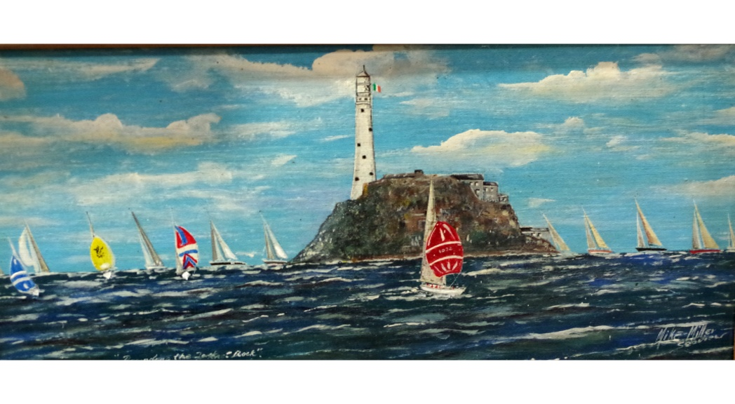 'Rounding the Fastnet Rock' Painting in acrylic on slate  by Mike Miller Seaview Based Artist Framed 15 inches.  On display in Bembridge shop. £100