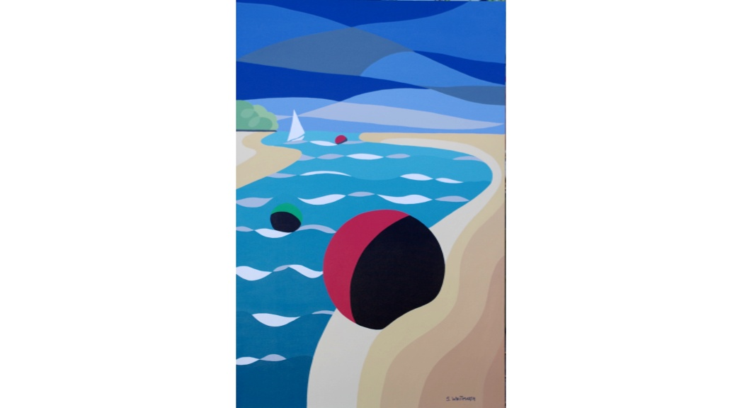 'Red Buoy St Helens' Suzanne Whitmarsh Original acrylic on canvas  36 by 24 inches £495. On display ClayClay shop.
