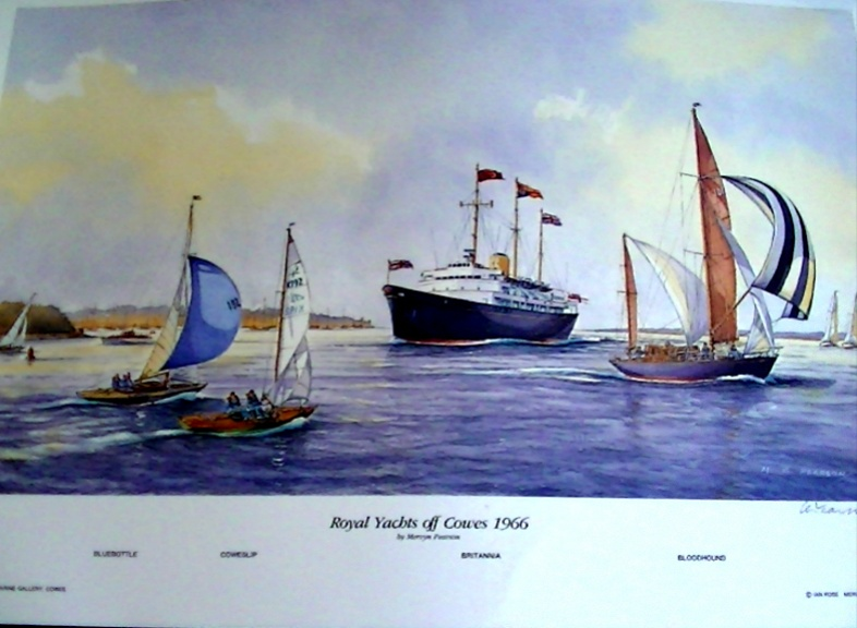 'HM Britannia  off Cowes 1966' Signed limited edition Print by MG Pearson.  Unframed 47*28cm £50. On display ClayClay shop. Postcard also Available.