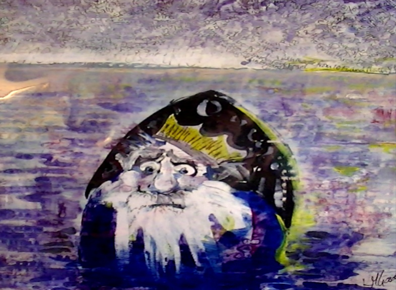 'King of the Sea' by Kate Gooden Hand painted Print 25*21cm £15. On display ClayClay shop.
