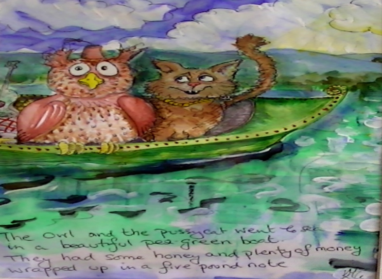 'Owl and the Pussycat' by Kate Gooden Hand painted Print 28*28cm £15. On display ClayClay shop.