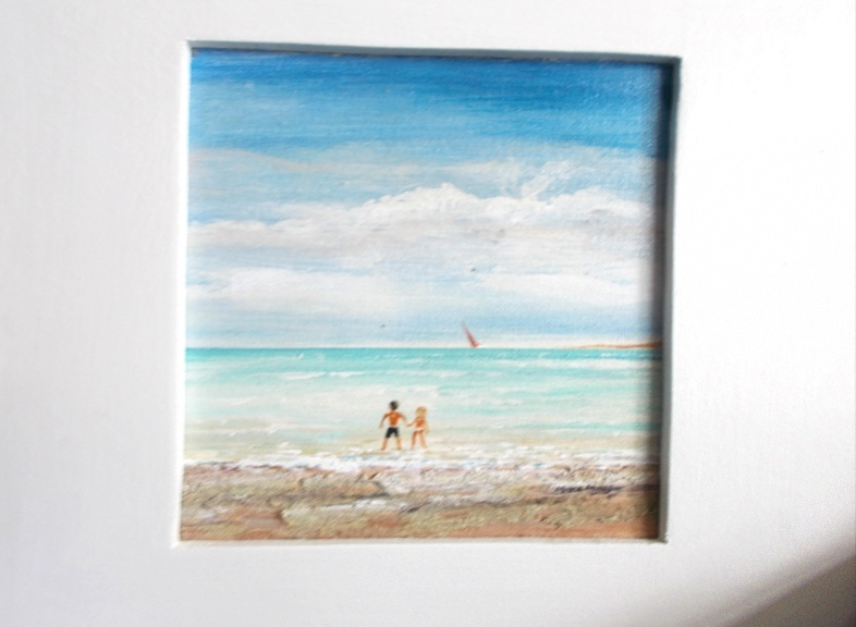'Seaside' Acrylic in frame painting 18 by 14cm by Mike Miller, Seaview Based Artist in many mediums onto canvas, card and terracotta. On display in Bembridge shop £70