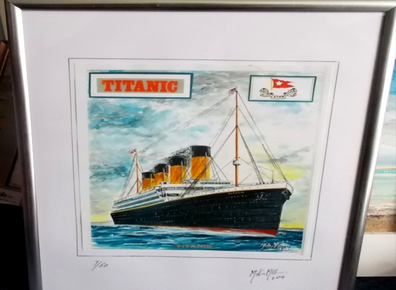 'Titanic' Limited edition signed print in frame based on painting 18 by 14cm by Mike Miller, Seaview Based Artist in many mediums onto canvas, card and terracotta. On display in Bembridge shop £30