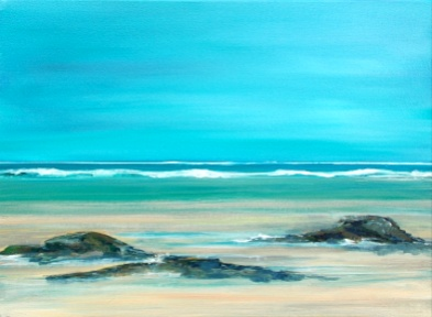 Maureen Lavery. 'Turquiose Shores'. Acrylic on Canvas . 38 by 38cm . £110. On Display Bembridge Shop.. This is a Greetings Card too