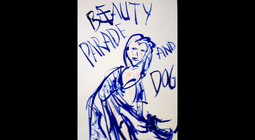 'Beauty Parade and dog' Acrylic on paper A3 size by BB Bango   £65