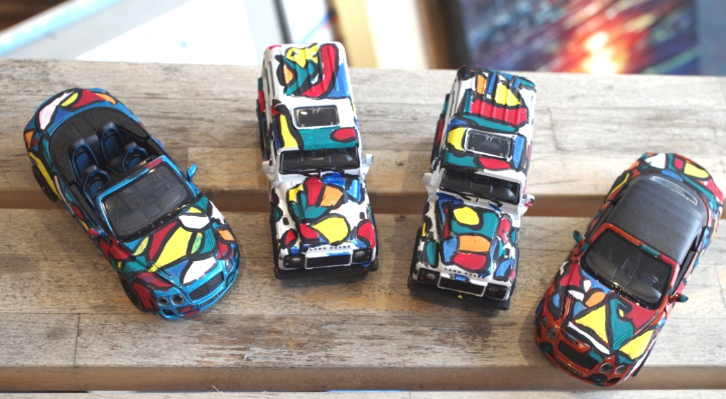 Bango painted Model cars 1:43 scale Bentleys and Landrovers' Original art - Acrylic on model plastic by BB Bango   £8 each