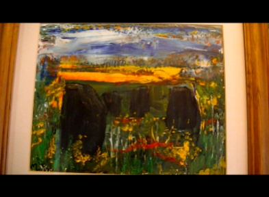 Maureen Lavery. 'Southern Standing Stones'. Acrylic on Board . 30 by 24cm . Framed and glass £75. On Display Big Art