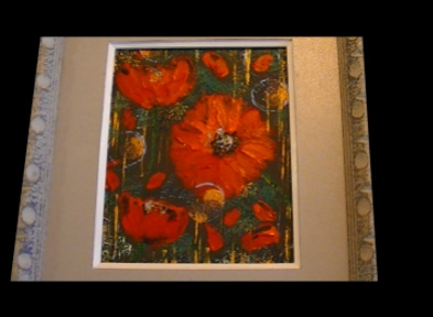 Maureen Lavery. 'Poppies'. Acrylic on canvas . 25 by 19cm . Framed and glass £60. On Display Bembridge Shop.