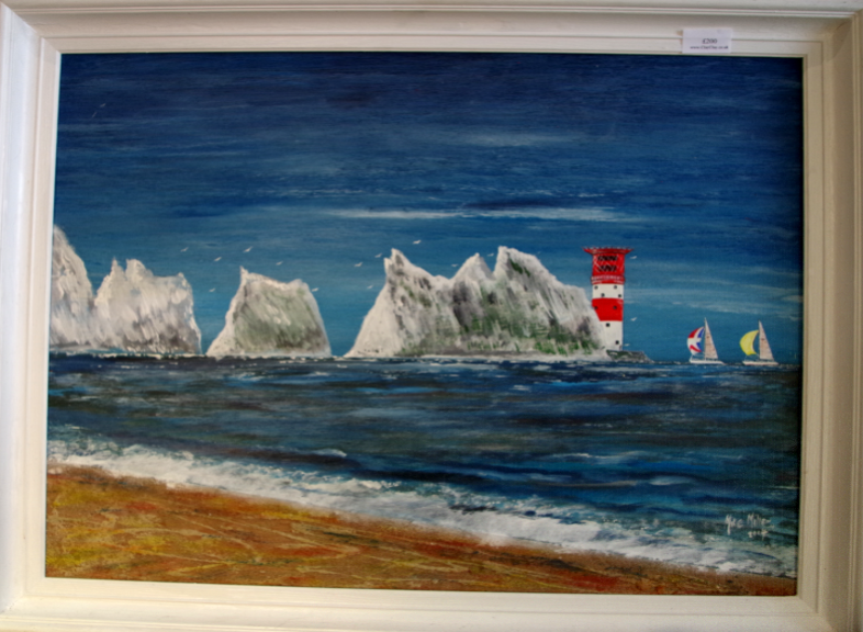 "'The Needles' Painting in acrylic and sand  by Mike Miller Seaview Based Artist Framed 24"" by 19"" On display in Bembridge shop. �200"