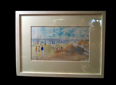 "The Late Peter Donnelly Bembridge Beach Watercolour on paper 12*7"" Framed £100"
