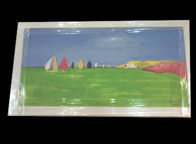 "The late Peter Donnelly 'Round the Island Race'  24*12"" Oil on canvas. Framed £400. On Display Bembridge Shop"
