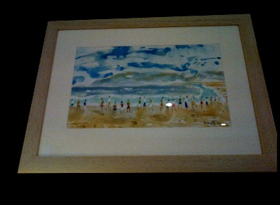 "The late Peter Donnelly 'A Beach in South Africa'  14*9"" Watercolour on canvas. Framed £175. On Display Bembridge Shop"