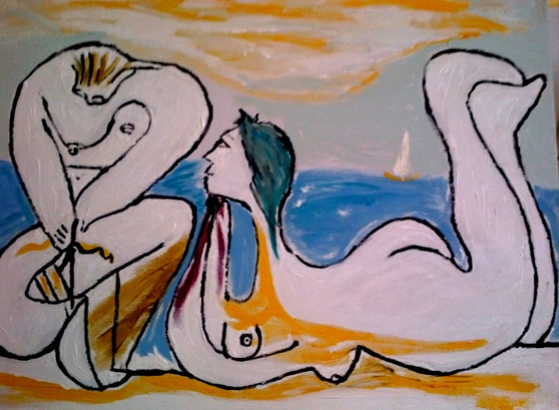 La Plage (after Picasso) by Bango 60 by 40cm acrylic on canvas �90 On display ClayClay shop