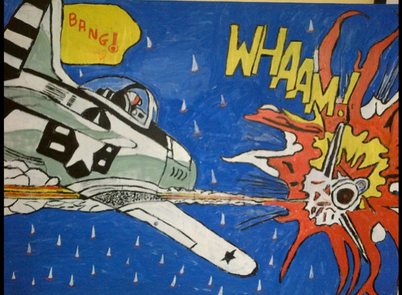Wham  (after Roy Lichtenstein) by Bango 90 by 60cm acrylic on canvas �135 On display ClayClay shop