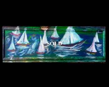 "BB Bango.'Solent Sail Boats Oblong' Acrylic on Cardboard and Framed  50"" by 17""  £75 On display in Bembridge"
