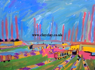 'Brickyard chimneys by the railway' 20 by  16 inches by BB Bango. July 15th 2015 Acrylic on canvas. £50