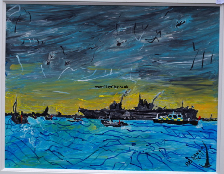 HMS Queen Elizabeth entering Portsmouth Harbour for the 1st time August 2017. Acrylic on canvas 39 by 32 inch. Large. This picture was submitted to the Royal Academy Summer Exhibition 2018 by BB Bango  Framed  £200