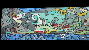 'Eight 1' - One 2ft by 4 ft section of the eight boards that make up Spin Art's 'Bembridge Harbour' by  BB Bango. 'SpinArt' -4 ways of looking at the picture - the right way, upside down or each side by  BB Bango. This huge 8ft by 8ft (2440 by 2440mm Acrylic on white hardboard is made up of 8No. 2 ft by 4 ft (610 by 1220mm) pieces. Each Piece as shown below can be sold separately at £350 per section or fo all 8 £2,250. This picture was finished 5th December 2013.