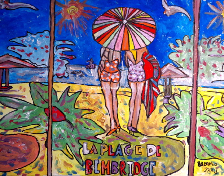 La Plage de Bembridge by BB Bango in acylic on canvas 24 by 24 inches Donatede to Charity auction