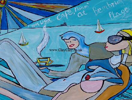'Cafe at Bembridge' Acrylic on canvas 18 by 24 inch   by BB Bango   £100