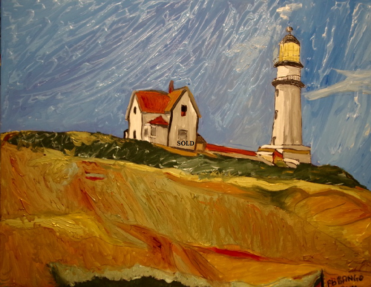 "'The Lighthouse House'    Painting by BB Bango in acrylic 40"" by 32""  Sold"