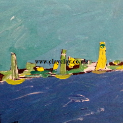 'AmericasCup 2015 B' off Portsmouth one of two by BB Bango. Acrylic on canvas board 12 by 10 inches. On display Bembridge Shop  £55
