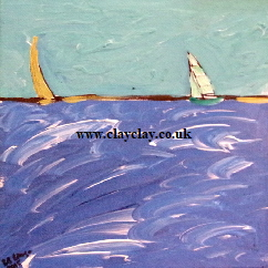 'Sailing off AmericasCup 2015'  off Portsmouth by BB Bango. Acrylic on canvas board 12 by 10 inches. On display Bembridge Shop  £55
