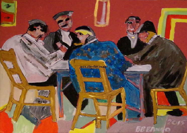 'Playing Cards' by BB Bango. Acrylic on canvas 20 by 16 inches. On display Bembridge Shop  £100
