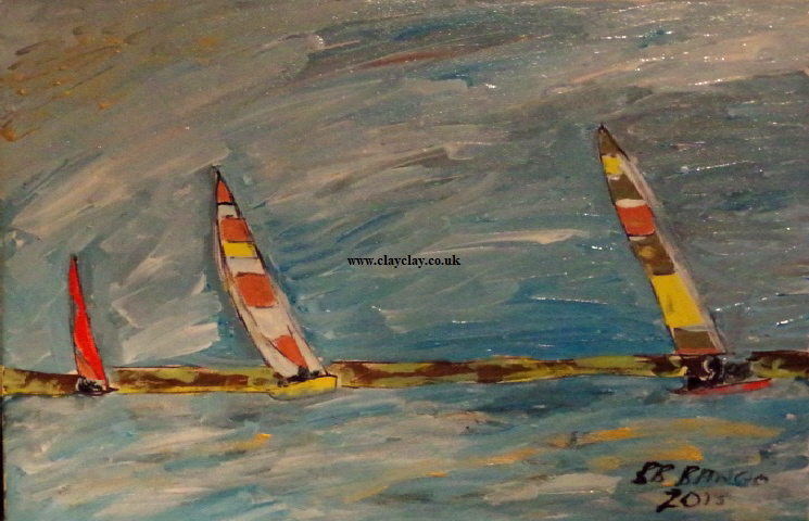 'Sailing near shore' by BB Bango. Acrylic on canvas 20 by 16 inches. On display Bembridge Shop  £100