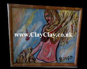 'Abstract Amy' by BB Bango. Acrylic on Paper.  Framed, glass 29*20cm £15. On display Bembridge shop. Also postcards available. This picture painted 20th April 2013 is based on an 'EspadaRolls' Glamour model photo shoot for the 'Tacky..... Original Music' music videos.